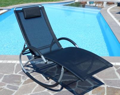 Liegestuhl Schwingstuhl Schaukelstuhl Schaukelliegestuhl mit atmungsaktiven Kunststoffgewebe Rückenlehne verstellbar + Kopfpolster KRETA-SCHWARZ - Vorschau 5
