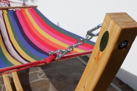 AS-S 350cm Hängemattengestell NATUR - ROJO Hängematte mit Gestell aus Holz Lärche natur mit bunter Stabhängematte JETZT mit roten Seilen - Vorschau 5