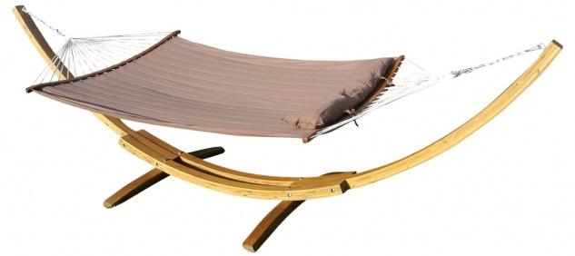 415cm XXL Luxus Hängemattengestell PANAMA-BFB aus Holz Lärche coffee-braun mit gepolsterter ergonomisch geformter Stab Hängematte und Polster