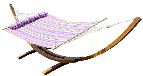 415cm XXL Luxus Hängemattengestell PANAMA-P aus Holz Lärche coffee-braun mit gepolsterter Stab Hängematte und Kopfkissen von AS-S