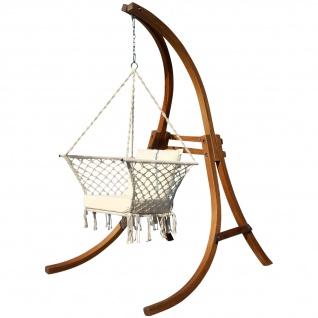 DESIGN Hängesessel Hängestuhl mit Gestell aus Holz Lärche Modell: CAT-KAILUA komplett mit Stoffsessel von AS-S