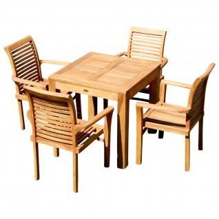 TEAK SET: Gartengarnitur Gartentisch 80x80 cm + 4x Sessel Holz JAV-ALPEN