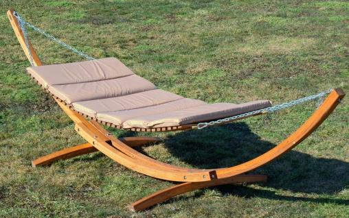 400cm XXL Luxus Hängemattengestell CARIBE aus Holz Lärche mit Holzhängematte mit Holzstreben und 4 Aufnahmen inkl. Auflage - Vorschau 4