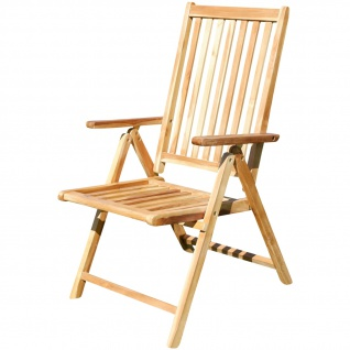 7-fach verstellbarer Gartenstuhl Hochlehner klappbar verschiedene Modelle aus TEAK & Eukalyptus Holz