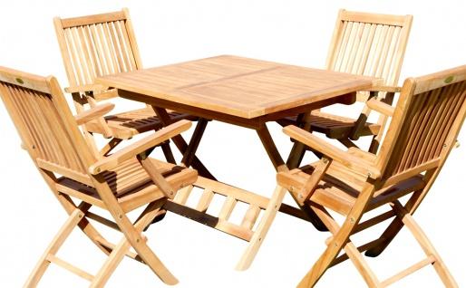 TEAK SET: Gartengarnitur Klapptisch 80x80 + 4 Klappsessel mit Armlehne Holz AVES80+4S