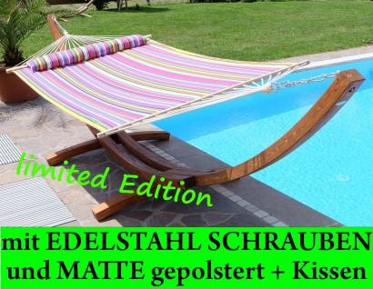 410cm XXL Luxus Hängemattengestell LIMITED EDITION aus Holz Lärche mit Stab Hängematte (EDELSTAHL - GEPOLSTERT)