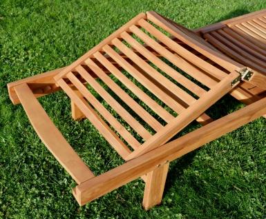 AS-S ECHT TEAK Sonnenliege Gartenliege Strandliege Holzliege Holz vielfach verstellbar mit Tisch sehr robust Modell: JAV-COZY - Vorschau 4