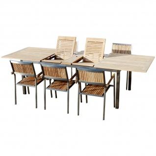 AS-S Gartengarnitur Edelstahl Teak Set: Ausziehtisch 200-280x100 cm + 6 Teak Sessel A-Grade Teak Holz Serie KUBA Gastroqualität