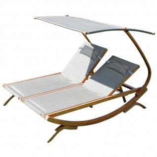 AS-S Doppel Sonnenliege Doppelliege Tulum bronze für 2 Personen mit verstellbarem Dach mit 2 Kopfpolster aus Holz Lärche