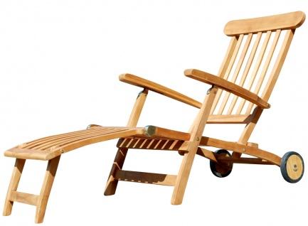 TEAK Liegestuhl Deckchair mit Rädern JAV-LUNA