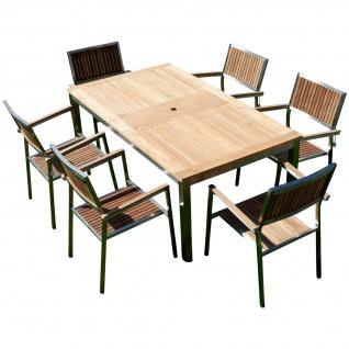 AS-S Gartengarnitur Edelstahl Teak Set: Ausziehtisch 160/220 x 90 cm + 6 Teak Sessel A-Grade Teak Holz Serie KUBA Gastroqualität