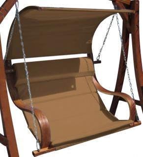 AS-S Design Sitzbank für Hollywoodschaukel aus Holz Lärche inkl. Dach MERU BRAUN ohne Gestell - Vorschau 1