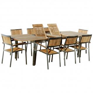 AS-S Gartengarnitur Edelstahl Teak Set: Ausziehtisch 200-280x100 cm + 8 Teak Sessel A-Grade Teak Holz Serie KUBA Gastroqualität
