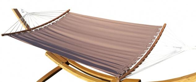 AS-S Doppelhängematte 150x200cm BRAUN aus Baumwolle mit ergonomisch gebogenem Stab
