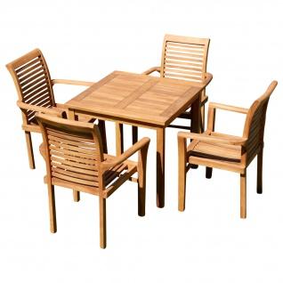 AS-S Teak Set: Gartengarnitur Gartentisch 80x80 cm + 4x Sessel Holz Serie JAV-ALPEN