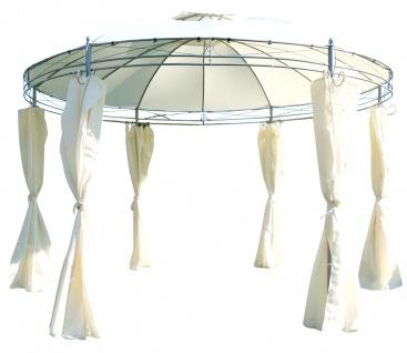 Eleganter Gartenpavillon Pavillon 3, 5 Meter Durchmesser rund mit Dach 100% wasserdicht UV30+ und 6 Vorhängen MARSEILLE von AS-S