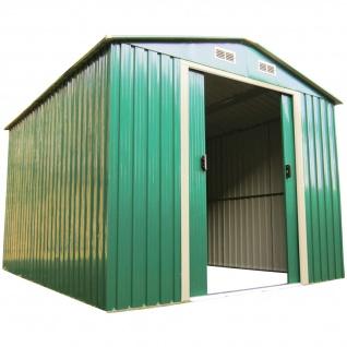 Gartenhaus Geräteschuppen 6, 65m² 2, 57x2, 59m aus verzinktem Stahlblech Metall grün