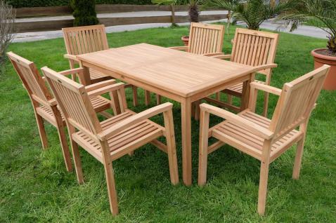 ECHT TEAK Gartengarnitur Gartenset Gartenmöbel Tisch 150x80cm + 6 Stapelsessel Miami Holz