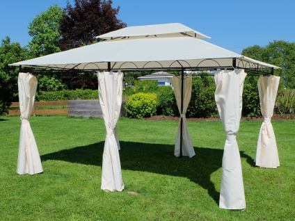 AS-S Eleganter Gartenpavillon 3x4 Meter, Dach 100% WASSERDICHT UV30+, 12m², mit 6 Vorhängen, rechteckig Modell: ELBA 3x4 - Vorschau 2