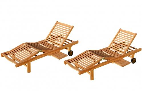 2x ECHT TEAK Sonnenliege Gartenliege Strandliege Holzliege Holz vielfach verstellbar mit Tischablage sehr robust Modell: 2xJAV-COZY von AS-S