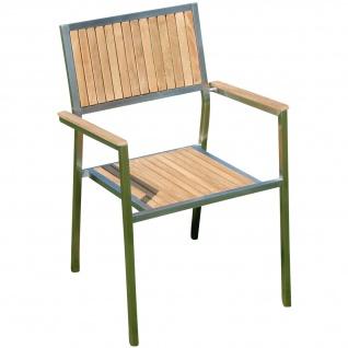 AS-S Designer Gartenstuhl mit Armlehne Gartensessel Stapelstuhl Stapelsessel Sessel KUBA-TEAK Edelstahl Teak A-Grade stapelbar sehr robust Gastroqualität