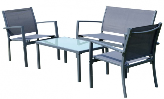 Sitzgruppe Gartenlounge CASAYA-grey Lounge besteht aus einem Tisch, zwei Stühlen und einer Sitzbank