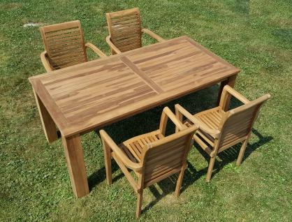 ECHT TEAK Gartenset Bigfoot Tisch 180x90 + 4 Sessel ALPEN Holz