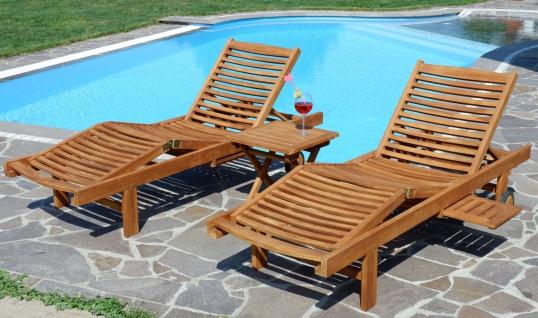 2x Hochwertige TEAK Sonnenliege Gartenliege Strandliege Liegestuhl Holzliege Holz sehr robust Modell: COZY+ 1x Beistelltisch 45x45cm von AS-S - Vorschau 5