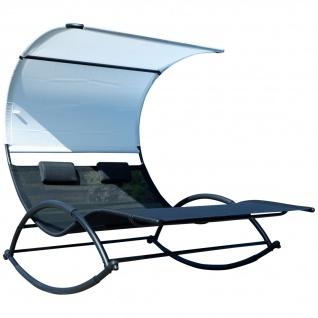 AS-S Doppel Schaukelliege Sonnenliege aus atmungsaktivem Kunststoffgewebe mit Kopfpolster und Dach ergonomisch geschwungen