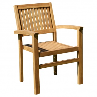 AS-S ECHT TEAK Design Gartensessel MIAMI Gartenstuhl Sessel Holzsessel Gartenmöbel Stapelstuhl Stapelsessel Teakholz sehr robust stapelbar