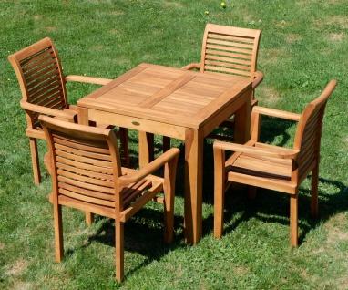 AS-S Teak Set: Gartengarnitur Gartentisch 80x80 cm + 4x Sessel Holz Serie JAV-ALPEN - Vorschau 2