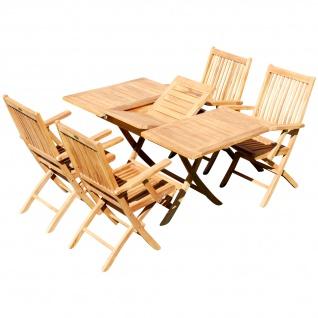 TEAK SET: Gartengarnitur Ausziehtisch 100-140 x 80 cm + 4 Klappsessel mit Armlehne Holz JAV-AVES