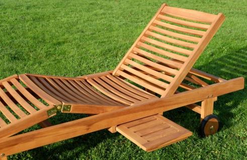 2x Hochwertige TEAK Sonnenliege Gartenliege Strandliege Liegestuhl Holzliege Holz sehr robust Modell: COZY+ 1x Beistelltisch 45x45cm von AS-S - Vorschau 4