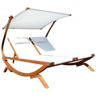 AS-S Doppel - Sonnenliege Doppelliege TULUM extrabreit für 2 Personen mit verstellbarem Dach aus Holz Lärche