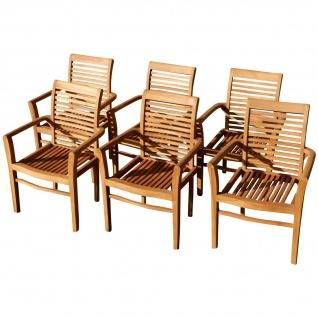 6Stk ECHT TEAK Design Gartensessel Gartenstuhl Sessel Holzsessel Gartenmöbel Holz sehr robust Modell: 6x ALPEN von AS-S