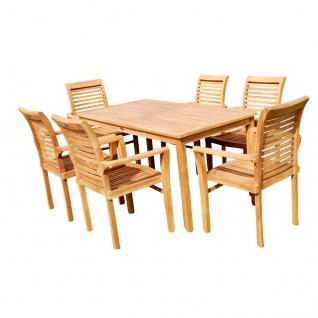 TEAK SET: Gartengarnitur Alpen Tisch 150x80 + 6 Alpen Sessel Serie JAV von AS-S
