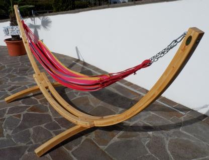350cm Hängemattengestell NATUR-MONA aus Holz Lärche natur mit bunter Tuch Hängematte - Vorschau 4