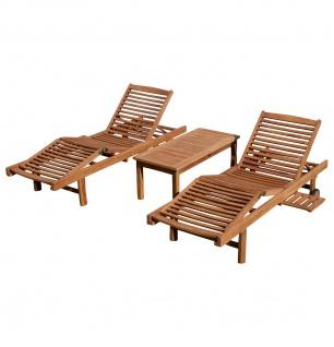 2x Hochwertige TEAK Sonnenliege Gartenliege Strandliege Liegestuhl Holzliege Holz sehr robust Modell: COZY+ 1x Beistelltisch COCO 110x50cm von AS-S