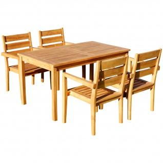 TEAK SET: Gartengarnitur Alpen Tisch 150x80 + 4 Kingston Sessel Serie JAV