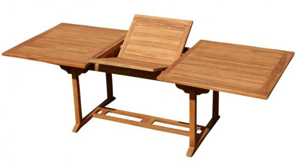 TEAK XXL Ausziehtisch 150/210x90 cm Holztisch Gartentisch Garten Tisch 150 / 210 Länge 90cm Breite Holz Modell: JAV-SABA von AS-S
