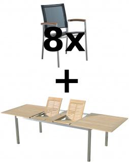 AS-S Gartengarnitur Edelstahl Batyline A-Grade Teak Holz Set: Ausziehtisch 200/240/280 x 100 cm + 8 Sessel Serie KUBA-SCHWARZ Gastroqualität