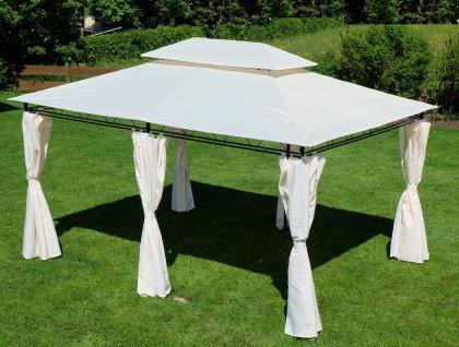 AS-S Eleganter Gartenpavillon 3x4 Meter, Dach 100% WASSERDICHT UV30+, 12m², mit 6 Vorhängen, rechteckig Modell: ELBA 3x4 - Vorschau 4