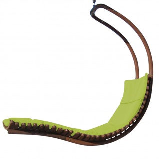 AS-S DESIGN Hängeliege Schwebeliege Schaukelliege NAVASSA-SEAT-GRÜN aus Holz Lärche / Metall mit Auflage (OHNE Gestell)