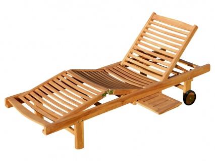 AS-S ECHT TEAK Sonnenliege Gartenliege Strandliege Holzliege Holz vielfach verstellbar mit Tisch sehr robust Modell: JAV-COZY