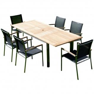 AS-S Gartengarnitur Edelstahl Batyline A-Grade Teak Holz Set: Ausziehtisch 160/220 x 90 cm + 6 Sessel Serie KUBA-SCHWARZ Gastroqualität