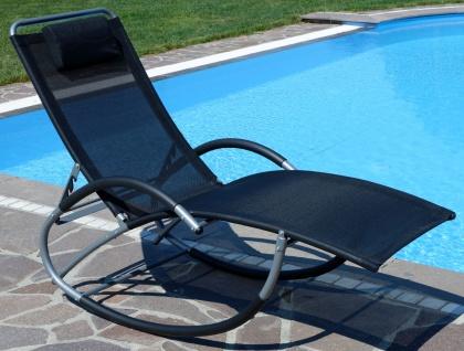 Liegestuhl Schwingstuhl Schaukelstuhl Schaukelliegestuhl mit atmungsaktiven Kunststoffgewebe Rückenlehne verstellbar + Kopfpolster KRETA-SCHWARZ - Vorschau 2