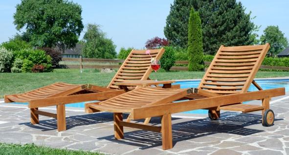 2x Hochwertige TEAK Sonnenliege Gartenliege Strandliege Liegestuhl Holzliege Holz sehr robust Modell: COZY+ 1x Beistelltisch 45x45cm von AS-S - Vorschau 2