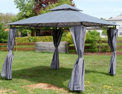 AS-S Eleganter Garten - Pavillon 3x3 Meter, Dach 100% WASSERDICHT UV30+, 9m², mit 4 Vorhängen anthrazit Modell: 7075-3x3 - Vorschau 2
