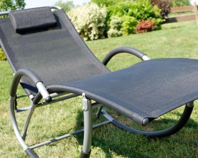 Liegestuhl Schwingstuhl Schaukelstuhl Schaukelliegestuhl mit atmungsaktiven Kunststoffgewebe Rückenlehne verstellbar + Kopfpolster KRETA-SCHWARZ - Vorschau 4