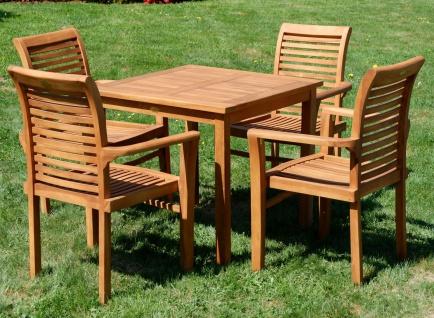 AS-S Teak Set: Gartengarnitur Gartentisch 80x80 cm + 4x Sessel Holz Serie JAV-ALPEN - Vorschau 3